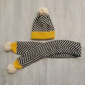 Pom-pom Chevron Cuffed Beanie and Scarf